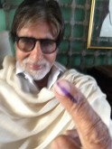 Amitabh Bachchan votes in Lok Sabha Elections 2014