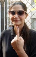 Sonam Kapoor votes in Lok Sabha Elections 2014
