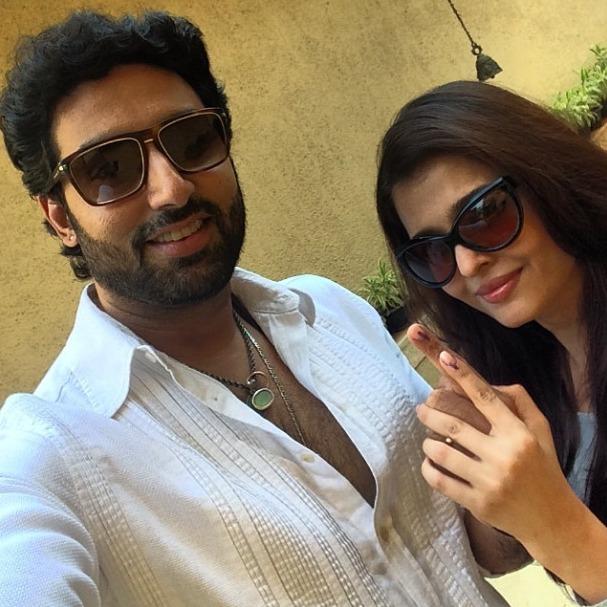 Abhishek Bachchan and Aishwarya Rai Bachchan vote in Lok Sabha Elections 2014