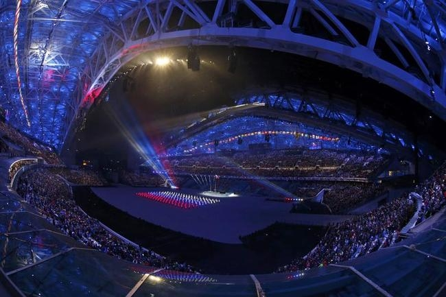 A general view shows a scene from the opening ceremony of the 2014 Sochi Winter Olympics