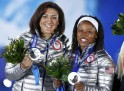 Lauryn Williams (right) became the 5th Olympian to get medals at Summer and Winter Games