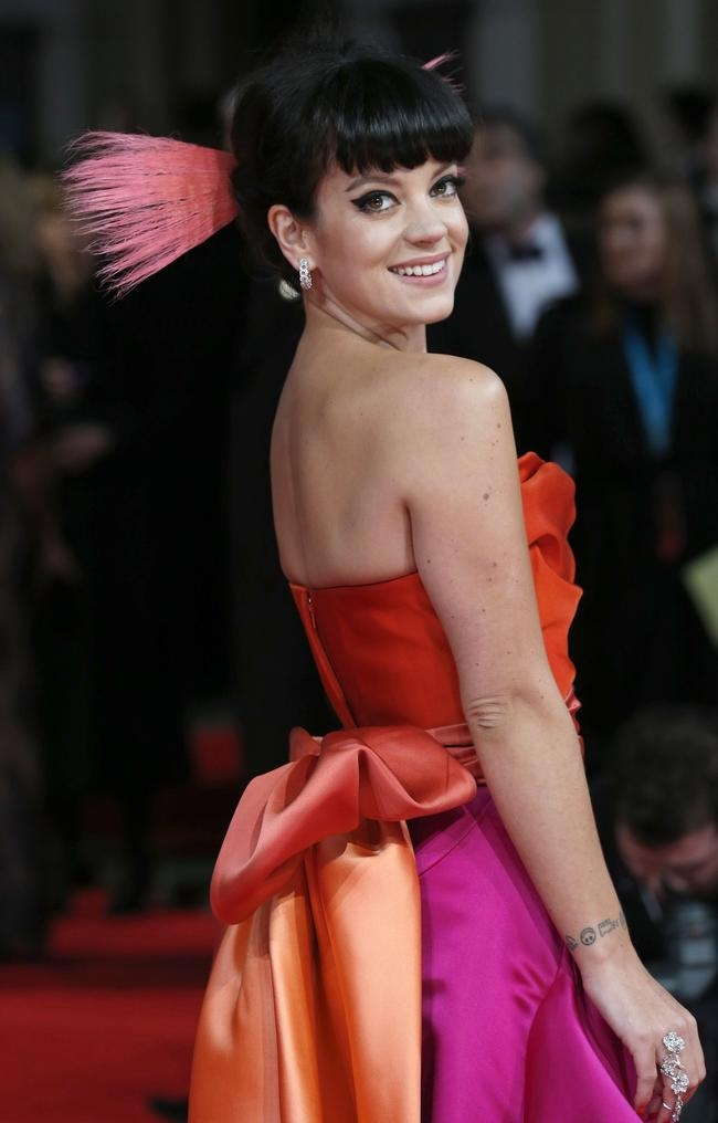 Lily Allen arrives at the British Academy of Film and Arts awards ceremony at the Royal Opera House in London