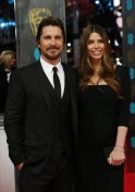 Christian Bale and Sibi Blazic arrive at the BAFTA awards ceremony in London