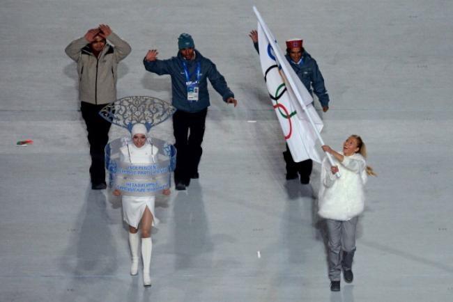 Independent Olympic Participants (IOP), alpine skier Himanshu Thakur, cross-country skier Nadeem Iqbal and luger Shiva Keshavan