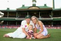 Shane Watson with his son Will and Wife Lee