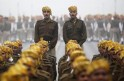 Indian soldiers take part in the rehearsal for Republic Day parade amid fog on cold winter morning in New Delhi