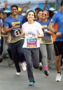 Tara Sharma at Mumbai Marathon 2014