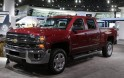A 2014 Chevolet Silverado pickup truck on display during the press preview day of the North American International Auto Show in Detroit