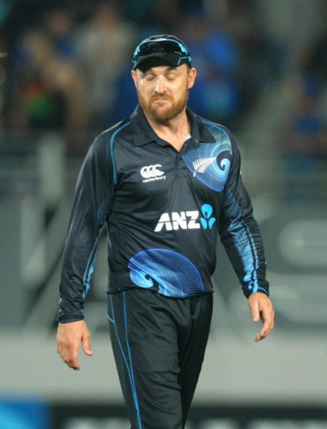 New Zealand captain Brendon McCullum reacts
