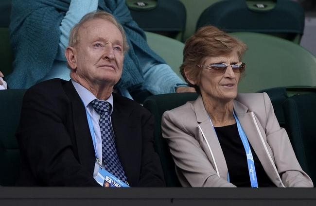 Tennis legend Rod Laver, left, and Janet Young, board member of Tennis Australia