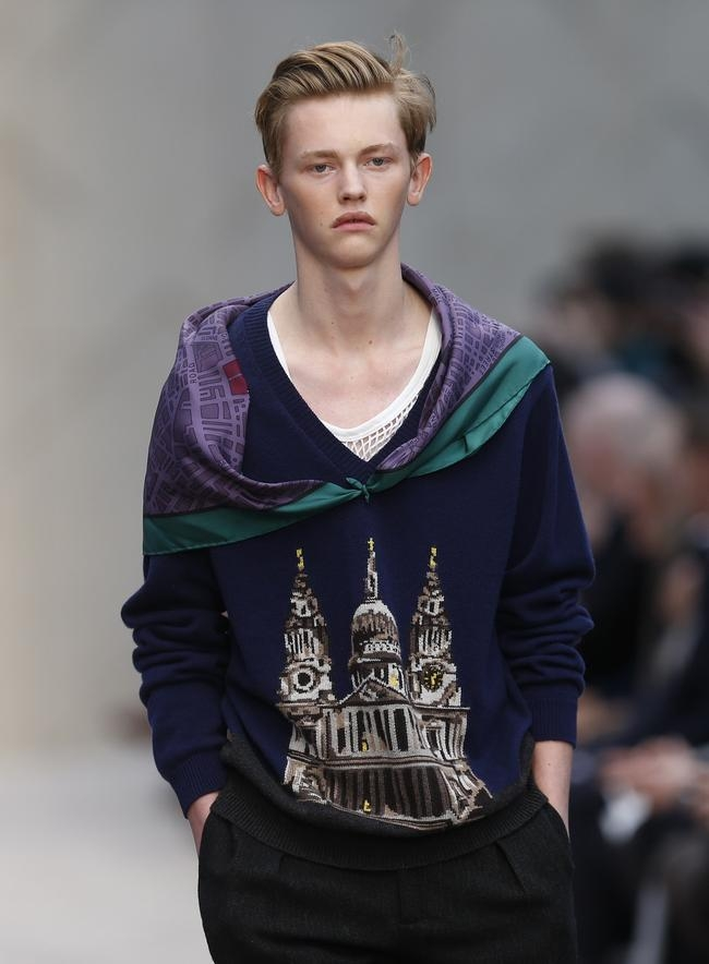 "Model presents creation from the Burberry Prorsum Autumn/Winter 2014 collection during ""London Collections: Men"" in London"