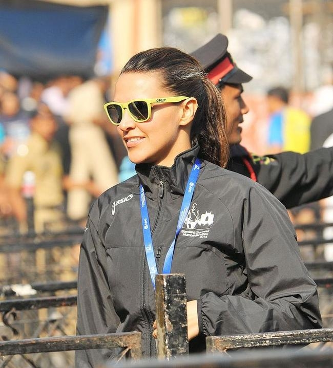 Neha Dhupia at Mumbai Marathon 2014