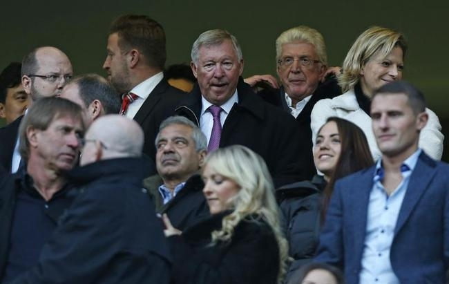 Sir Alex Ferguson takes his place in the stands