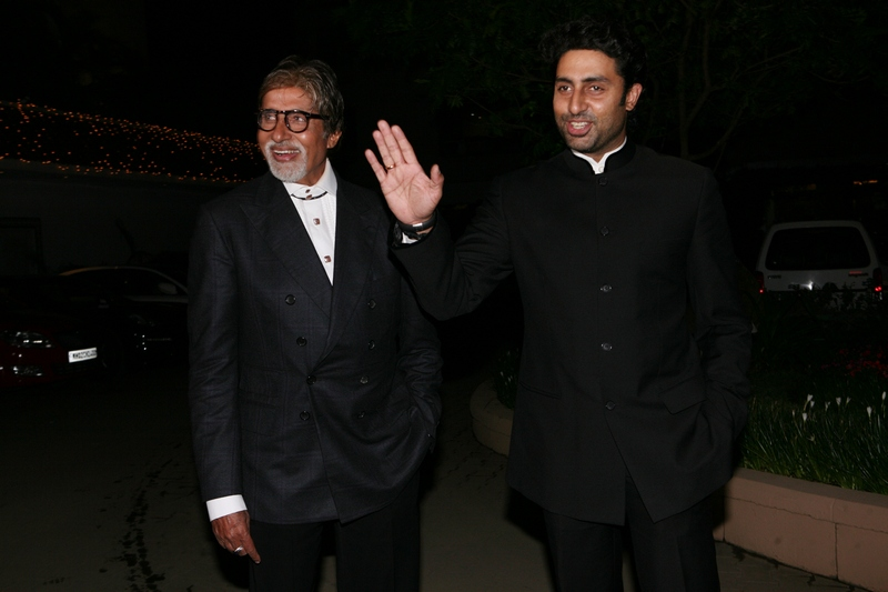 Amitabh Bachchan and Abhishek Bachchan at Amita Pathak and Raghav Sachar