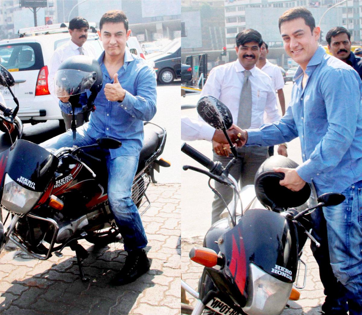 dhoom 3 actor aamir khan urges bikers to helmet up! - indiatimes