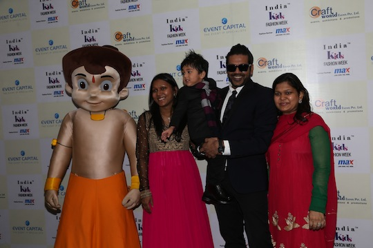 Chotta Bheem, Rocky S with designers Pooja Jhunjhunwala and Rachna at Day 1 of India Kids Fashion Week