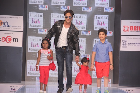 Inder Kumar walks the ramp with his children at Day 2 of India Kids Fashion Week