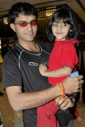 Indian cricketer Sourav Ganguly holds Sara