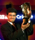 Indian skipper Saurav Ganguly shows-off the CEAT I