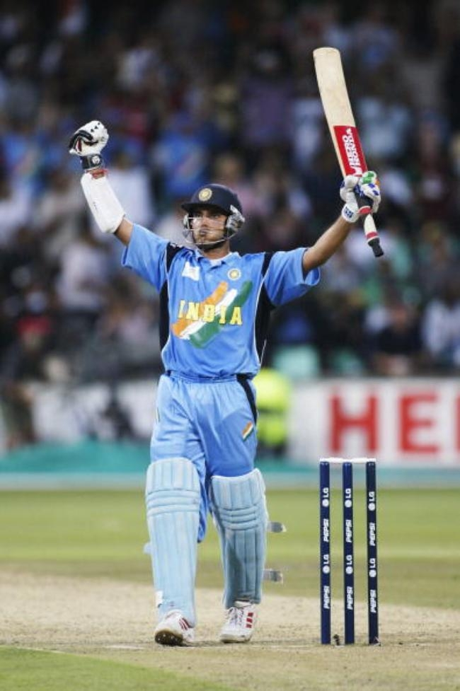 Sourav Ganguly of India celebrates his century during the ICC Cricket