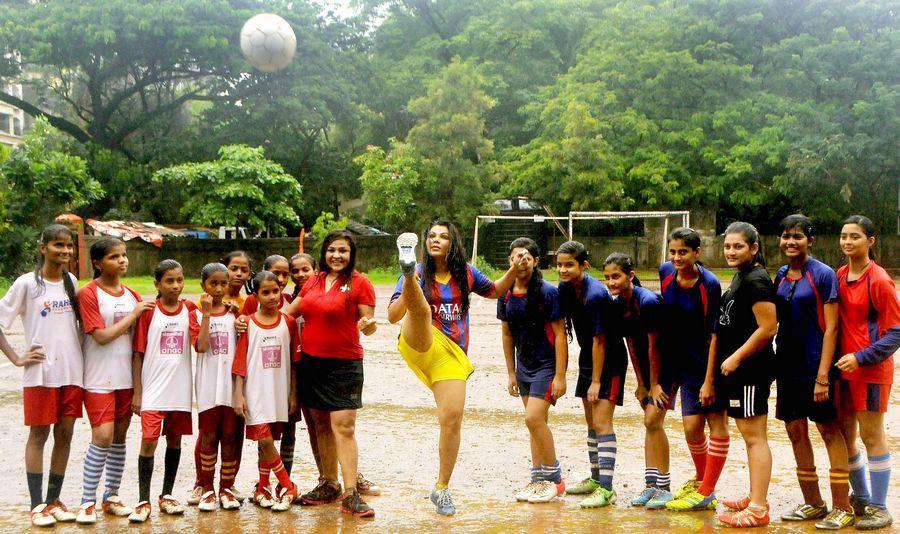 Rakhi Sawant plays football