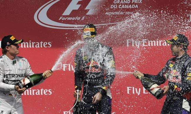 Daniel Ricciardo, Sebastian Vettel, Nico Rosberg