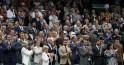 Sports stars applaud on Centre Court at the Wimbledon Tennis Championships, in London