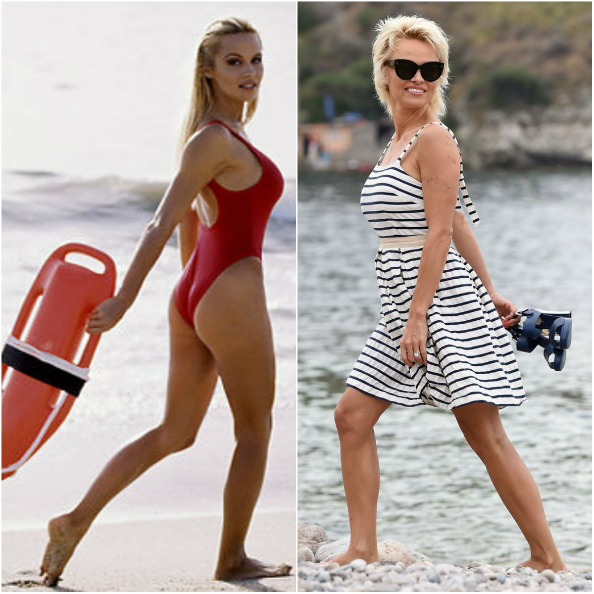 Pamela Anderson on the beach then and now