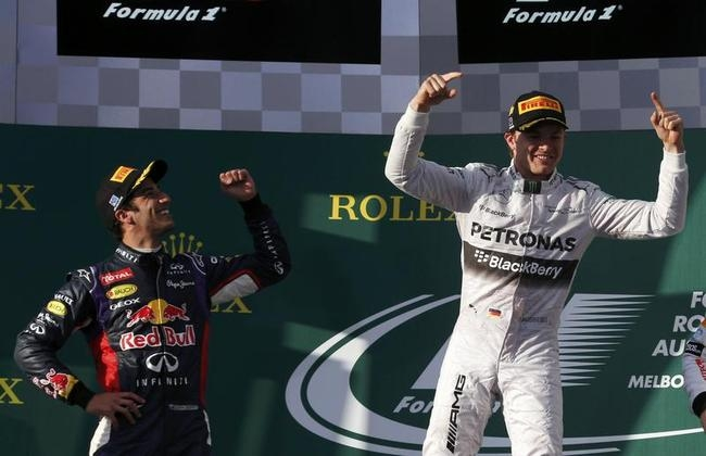 Mercedes Formula One driver Rosberg of Germany celebrates winning after the Australian F1 Grand Prix in Melbourne