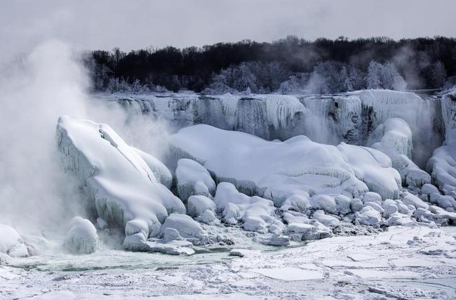 A partially frozen Niagara Falls is seen on the American side during sub-freezing temperatures in Niagara Falls