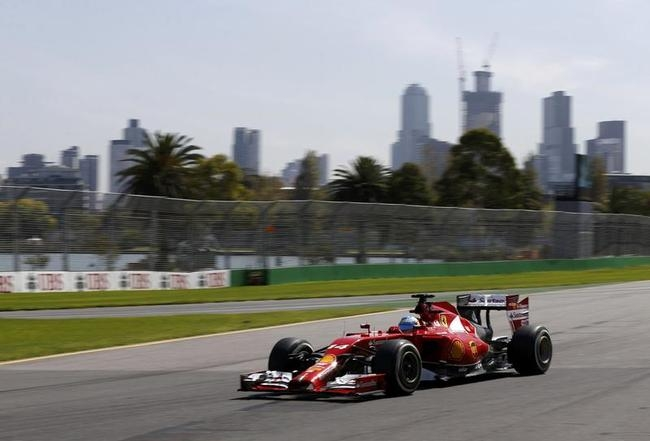 Ferrari Formula One driver Alonso of Spain drives during the first practice session of the Australian F1 Grand Prix in Melbourne