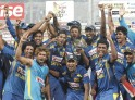 Sri Lankan team poses with the winning trophy after clinching the 2014 Asia Cup