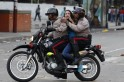 An anti-government protester is detained by police during clashes with police at Altamira square in Caracas