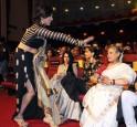 Rituparna Sengupta (L) with bollywood actress Sonam Kapoor with Jaya Bachchan during 1st Vivel Filmfare Awards 2013 (East) at Science City auditorium in Kolkata
