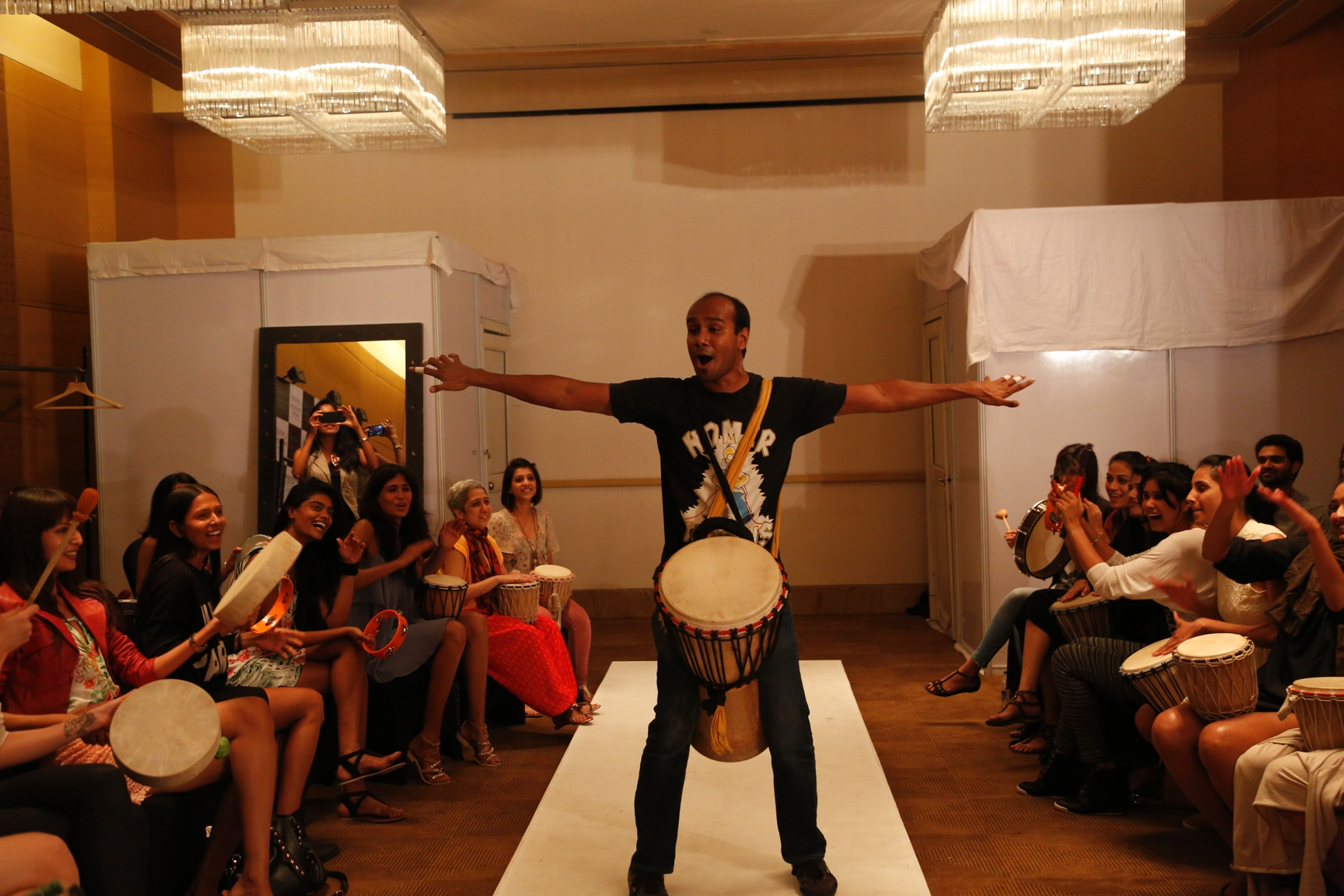 """Arthur Fernandes, a psychologist, Arts based therapist, Drum Circle facilitator and Founder of Music Matters made the day interesting for the women and men alike. He said, """"Music being a universal language, its a liberating mode of communication. Drums"""