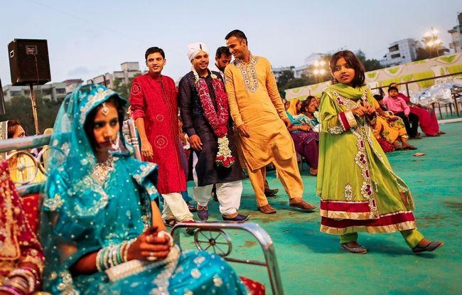 A Muslim groom arrives for mass marriage ceremony in Mumbai